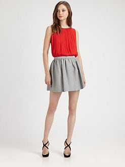 Alice + Olivia - Sleeveless Silk Drape Top