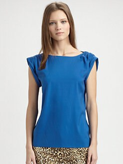 Alice + Olivia - Rolled Sleeve Silk Tunic Top