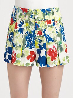 Alice + Olivia - High Waist Box Pleated Shorts