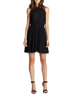 Alice + Olivia - Leather-Trim Lace Racerback Dress