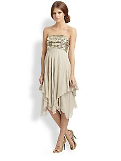 Alice + Olivia - Elyse Embellished Strapless Dress