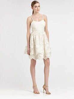 Alice + Olivia - Floral Lace Puff Dress