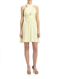 Alice + Olivia - Martine Wrapped-Front Silk Dress