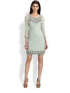 Alice + Olivia - Silk Chiffon Embellished Daria Dress