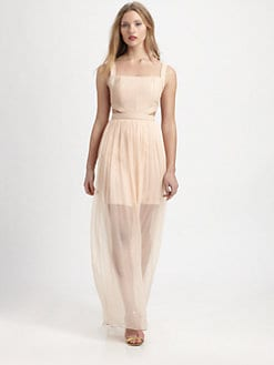 Alice + Olivia - Leather & Silk-Blend Chiffon Cutout Dress