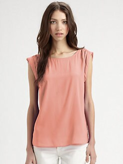 Alice + Olivia - Stretch Silk Rolled Sleeve Blouse