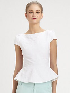 Alice + Olivia - Roz Cap-Sleeve Peplum Top