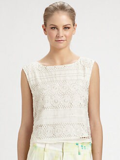 Alice + Olivia - Vera Crochet Silk Crop Top