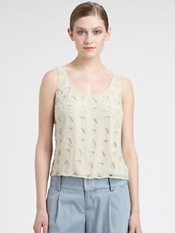Alice + Olivia - Beaded Cutout Silk Blouse