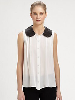Alice + Olivia - Zuma Leather Collar Top