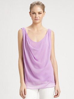 Alice + Olivia - Cowlneck Sleeveless Draped Top