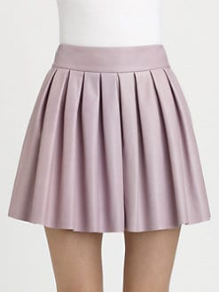 Alice + Olivia - Box Pleat Leather Skirt
