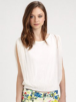 Alice + Olivia - Gathered Shoulder Silk Top