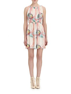 Alice + Olivia - Mary Pleated Silk Dress