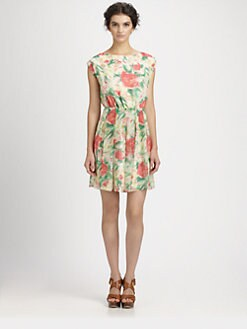 Alice + Olivia - Matilda Floral Print Silk Dress