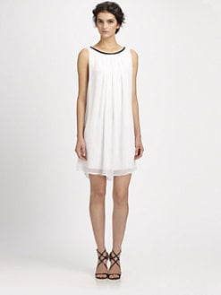 Alice + Olivia - Genae Leather-Trimmed Dress