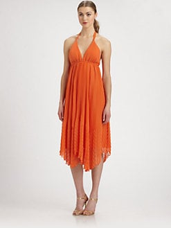 Alice + Olivia - Adalyn Pleated Halter Dress