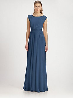 Alice + Olivia - Triss Stretch Silk & Leather Maxi Dress