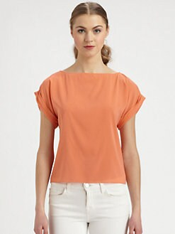Alice + Olivia - Papaya Stretch Silk Blouse