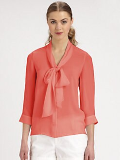 Alice + Olivia - Arie Stretch Silk Tie-Neck Blouse