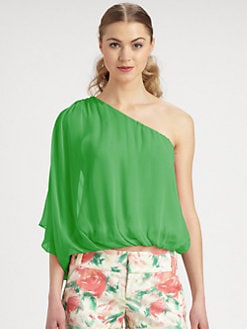 Alice + Olivia - Carrie One Shoulder Silk Blouse