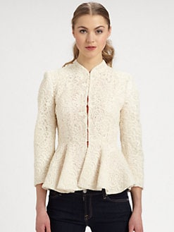 Alice + Olivia - Polly Lace Peplum Jacket