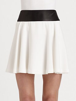 Alice + Olivia - Sonja Leather-Accented Skirt
