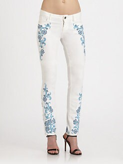Alice + Olivia - Floral Embroidered Jeans