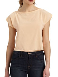 Alice + Olivia - Stretch Silk Tulip Back Blouse