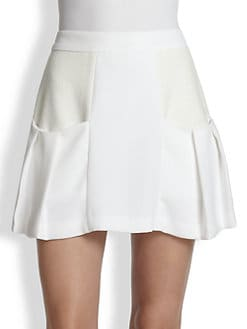 Alice + Olivia - Linder Mixed-Media Pleat Skirt