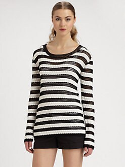 Alice + Olivia - Ethan Striped Crochet Sweater