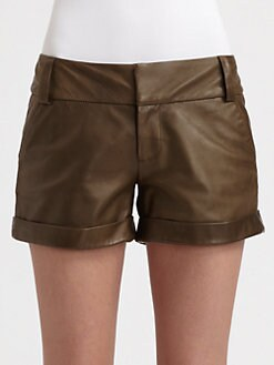 Alice + Olivia - Leather Cady Cuff Shorts