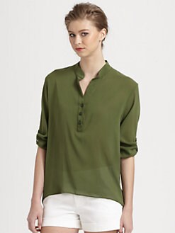 Alice + Olivia - Dallon Stretch Silk Hi-Lo Blouse
