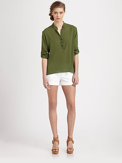 Dallon Stretch Silk Hi-Lo Blouse