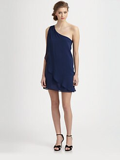 Alice + Olivia - Faith One Shoulder Silk Dress