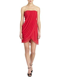 Alice + Olivia - Maya Strapless Silk Tulip Dress