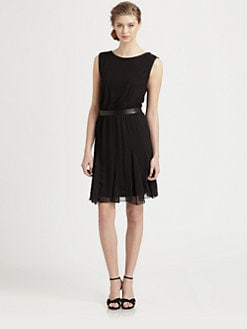 Alice + Olivia - Foss Leather-Trim Dress