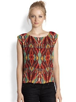 Alice + Olivia - Lacey Silk Tribal-Print Top