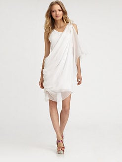 Alice + Olivia - Asymmetrically Draped Silk Dress