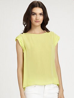 Alice + Olivia - Silk Hi-Low Boatneck Top