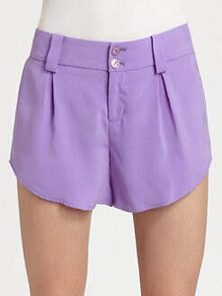 Alice + Olivia - Butterfly Pleated Silk Shorts