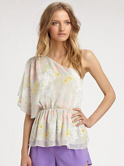 Alice + Olivia - Rebecca Semi-Sheer One-Shoulder Top
