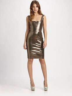 Alice + Olivia - Norah Metallic Leather Dress