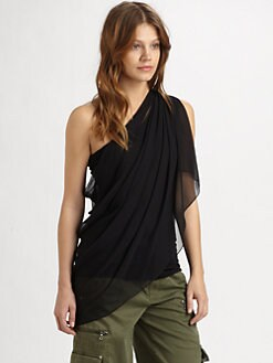 Alice + Olivia - Draped Silk Chiffon Top