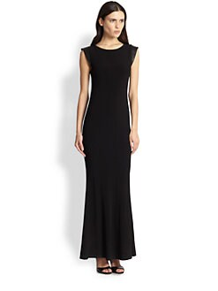 Alice + Olivia - Leather & Open Back Maxi Dress