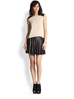 Alice + Olivia - Leather & Stretch Silk Top