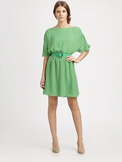 Alice + Olivia - Bette Belted Silk Dress