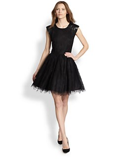 Alice + Olivia - Shelly Lace & Leather Dress