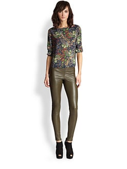 Alice + Olivia - Sid Stretch Silk Floral Top