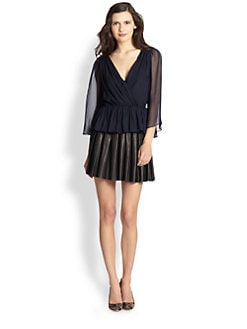 Alice + Olivia - Greer Silk Peplum Top